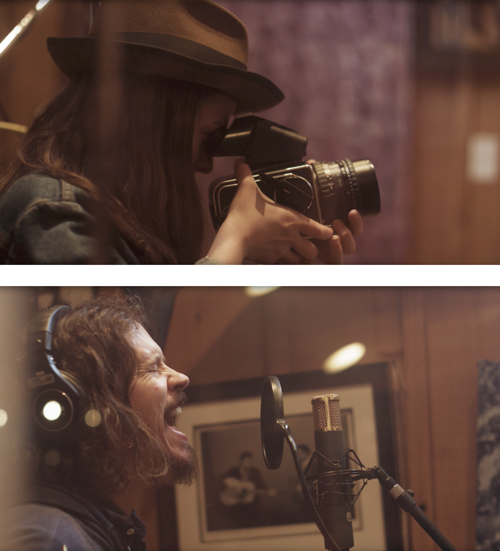TOP: Laura photographing at Cash Cabin | BOTTOM: John Paul White recording at Cash Cabin. Stills courtesy of Brendan Leahy and Cinestill FIlm