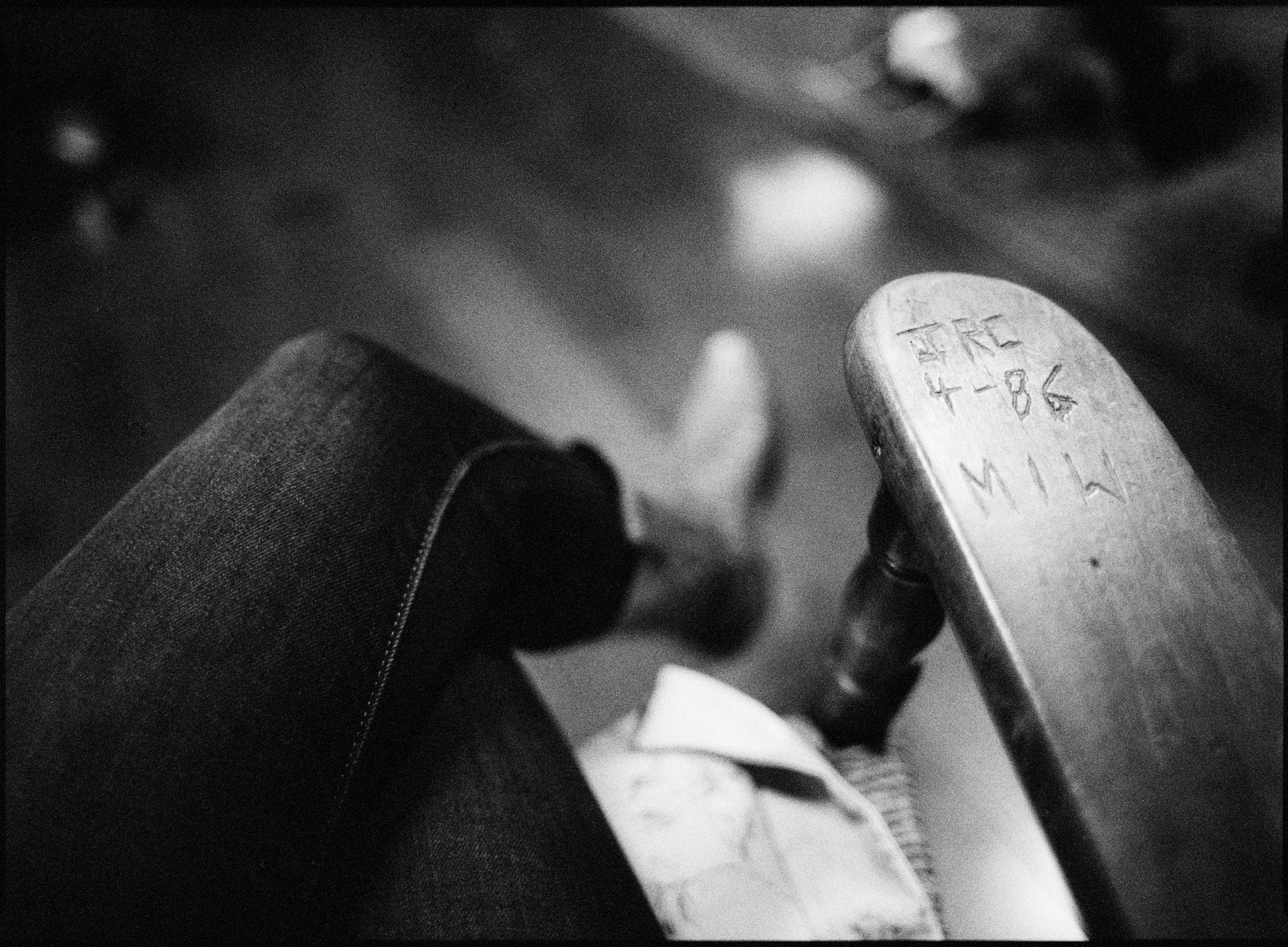 Johnny Cash's rocking chair and initials, LP's boot