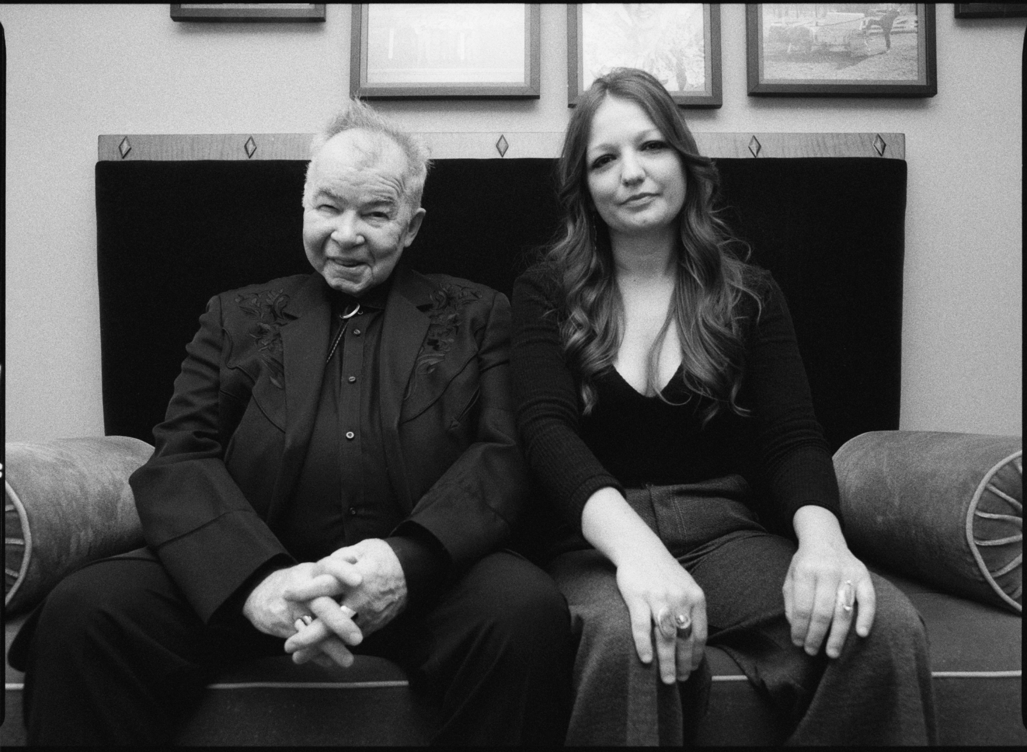 A portrait of Kelsey Waldon and John Prine