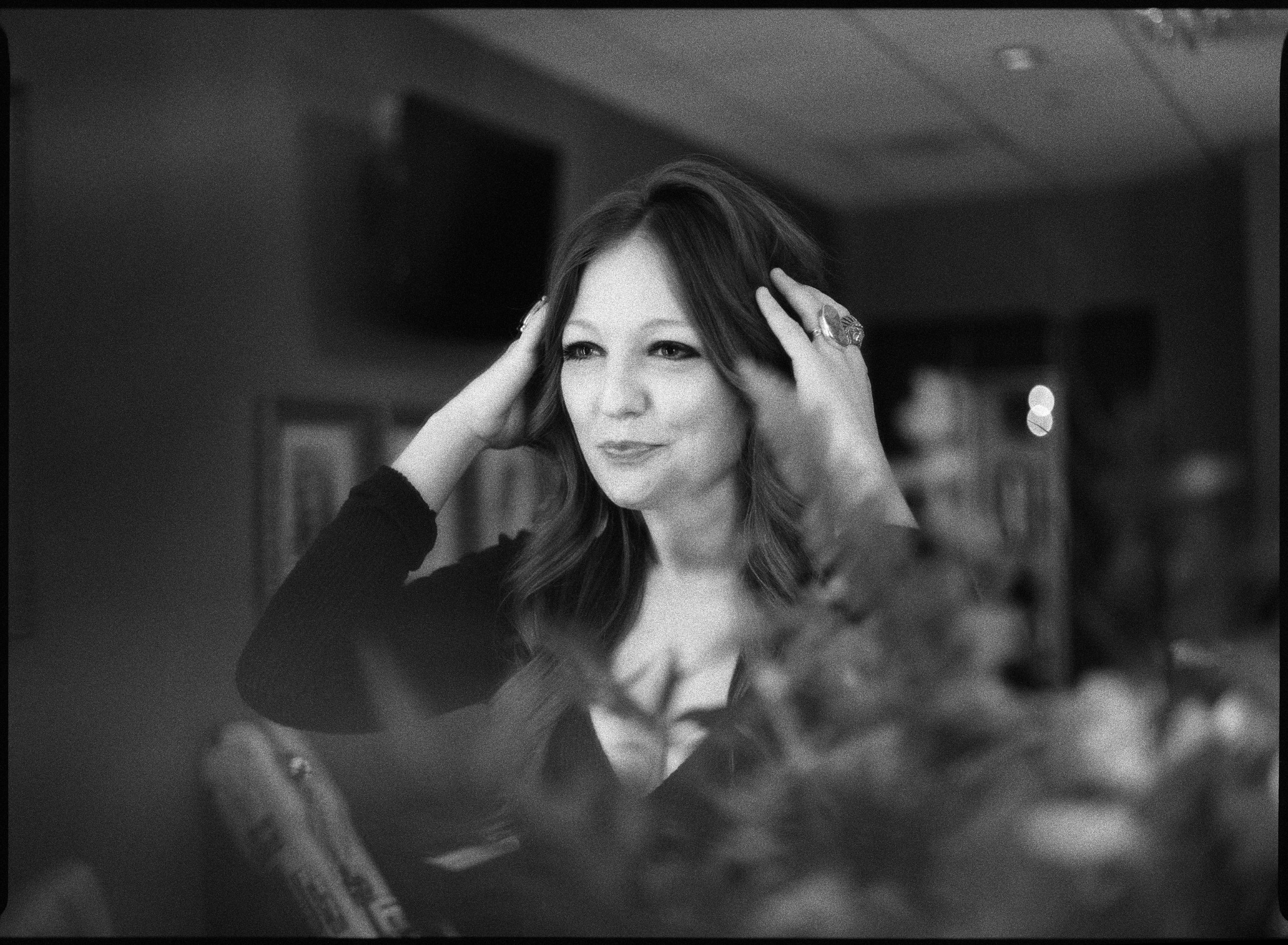 Kelsey Waldon getting ready in her dressing room backstage at the Opry