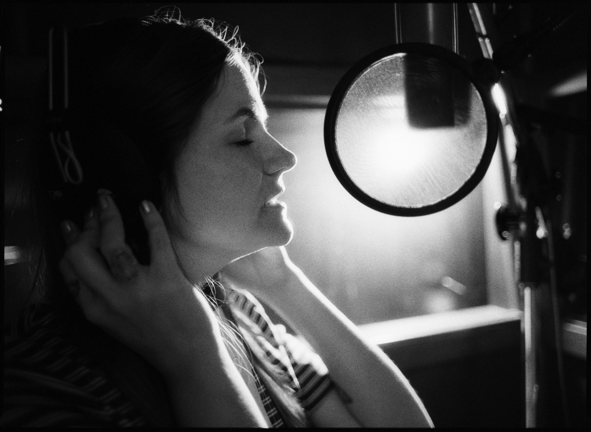 Erin Rae recording vocals at Sam Phillips Recording in Memphis, TN