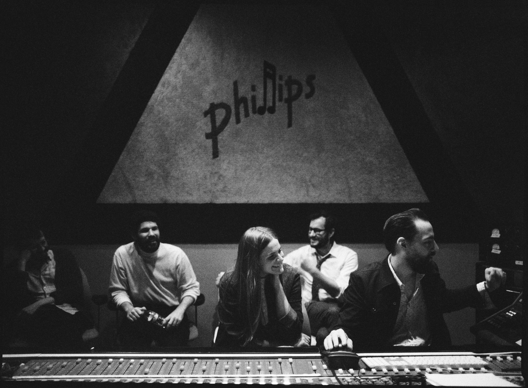 Erin Rae, Matt Ross-Spang and band listening back to their recording at Sam Phillips Recording in Memphis, TN