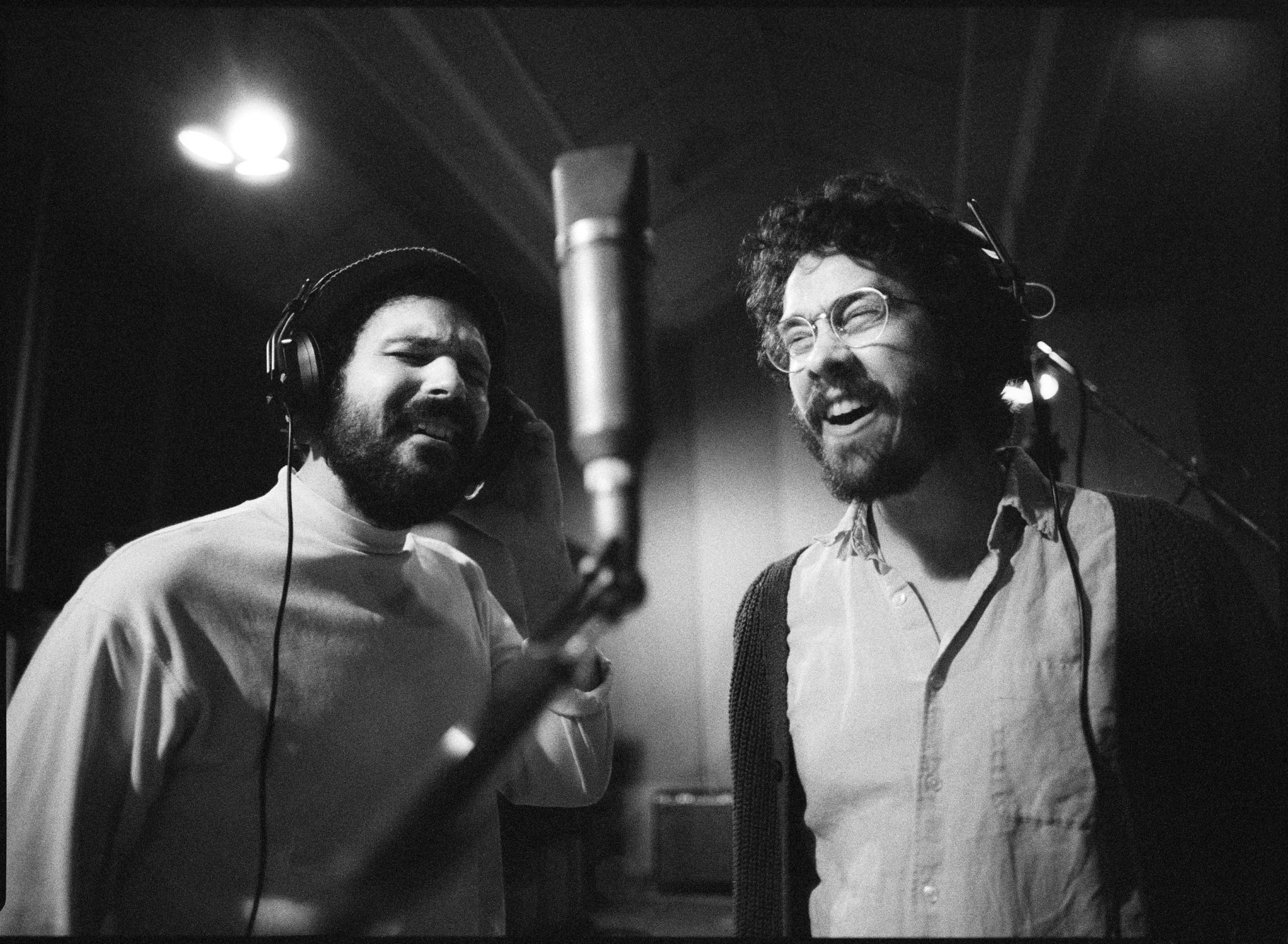 Jerry Bernhardt and Dom Billett tracking backup vocals at Sam Phillips recording in Memphis, TN