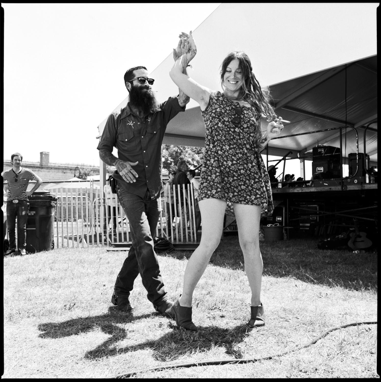 JP Harris and Melodie Geer dancing at Newport Folk Fest