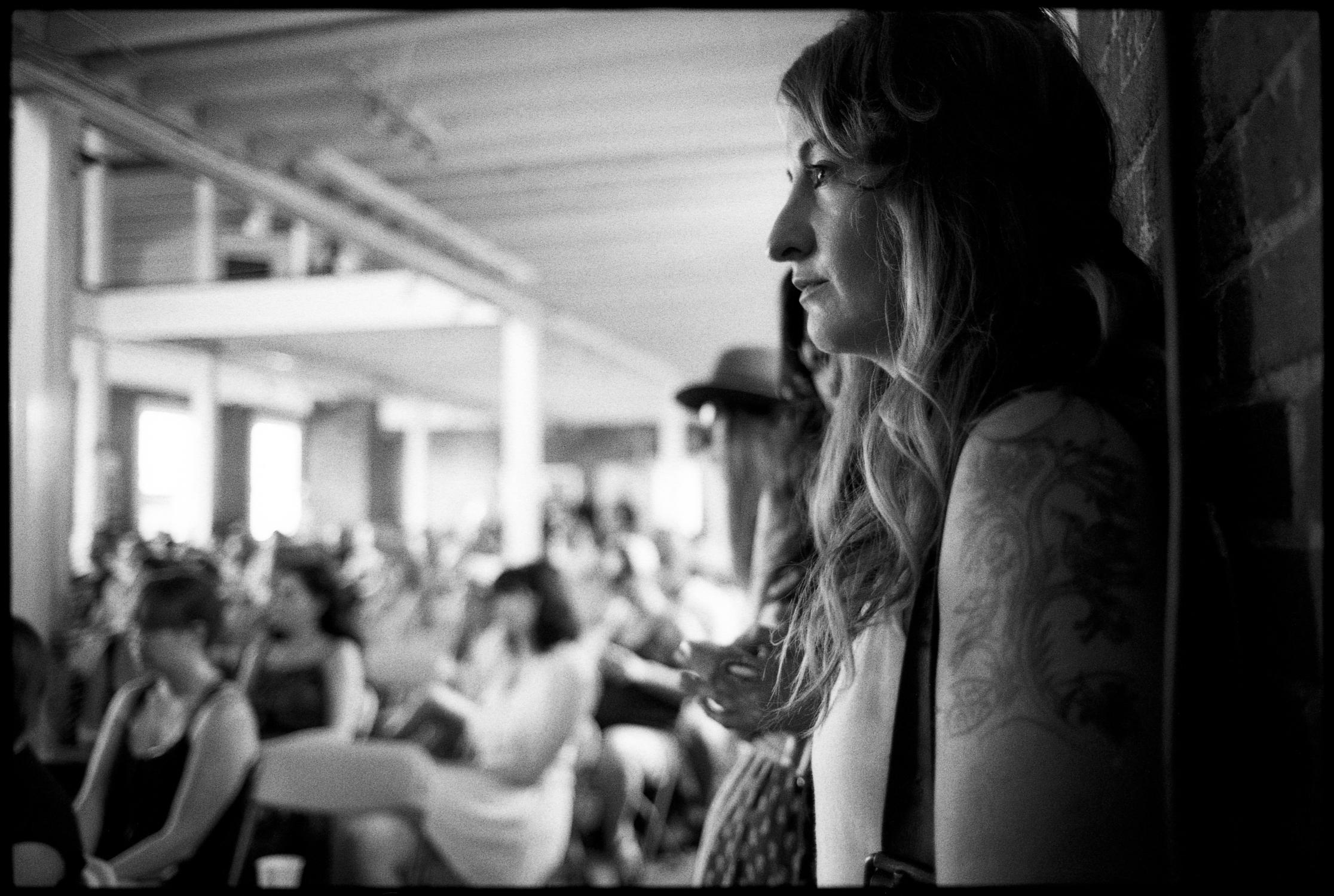 Margo Price watching performances at Newport Folk Fest