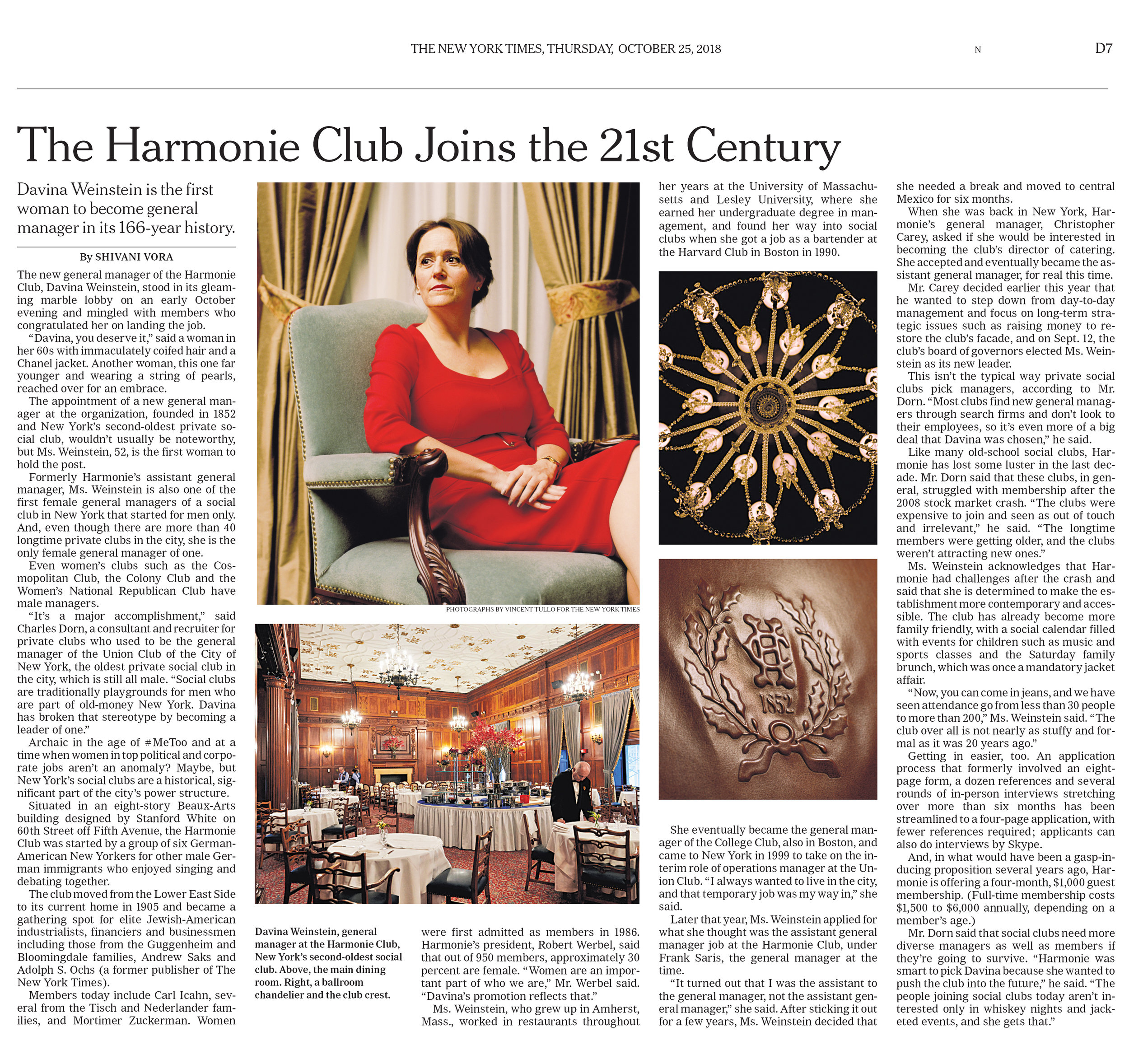 """The Harmonie Club Joins the 21st Century.""        Photos:   Vincent Tullo   Role:  Assignment."