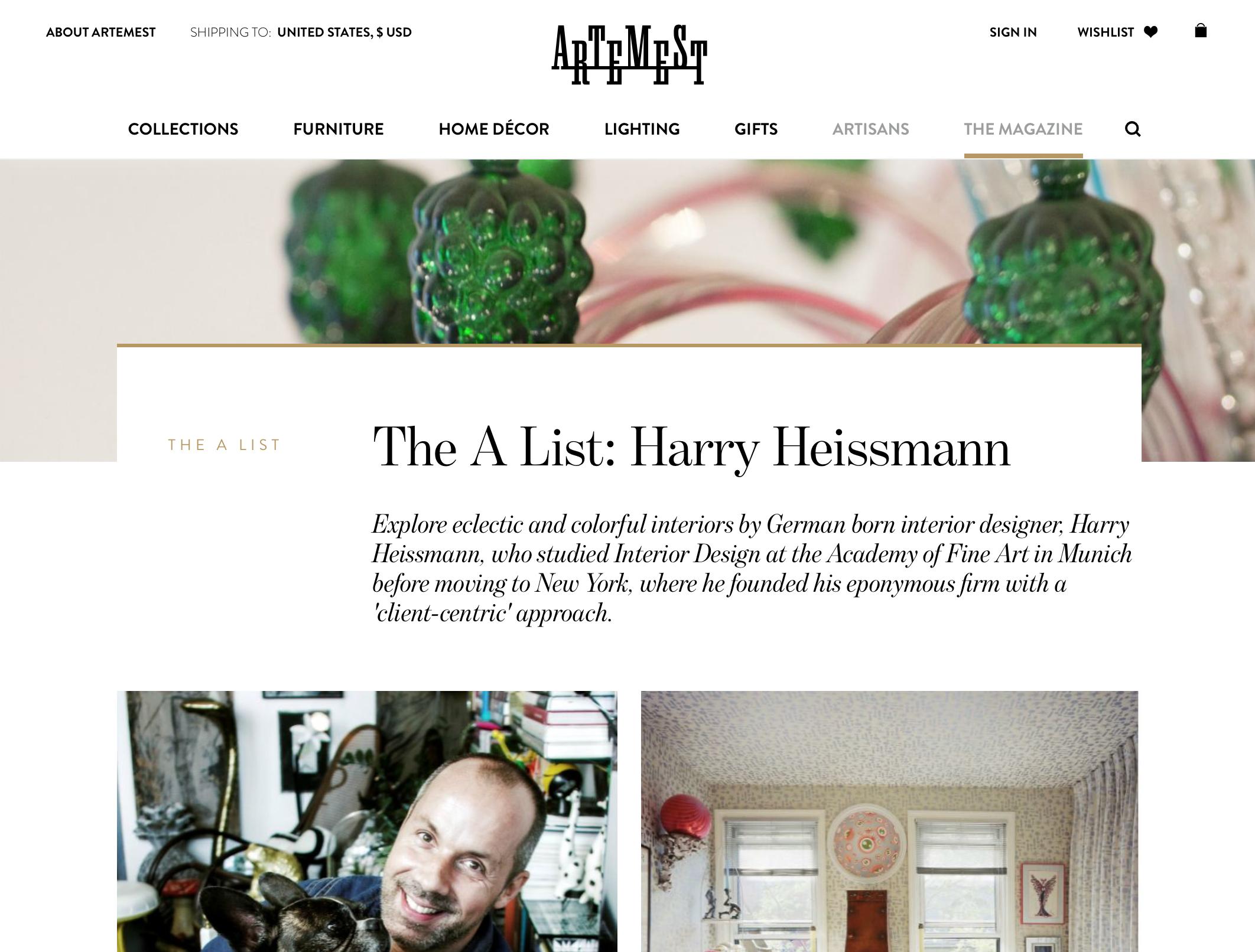 The A List: HH - Artmest highlights Harry on their website.