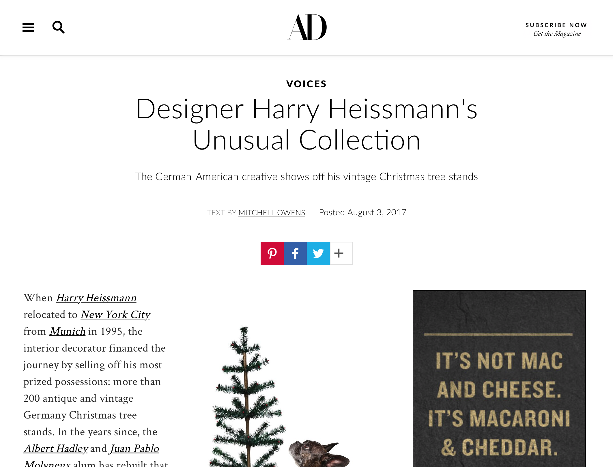AD Voices: Unusual Collection - AD highlights Harry on their website.