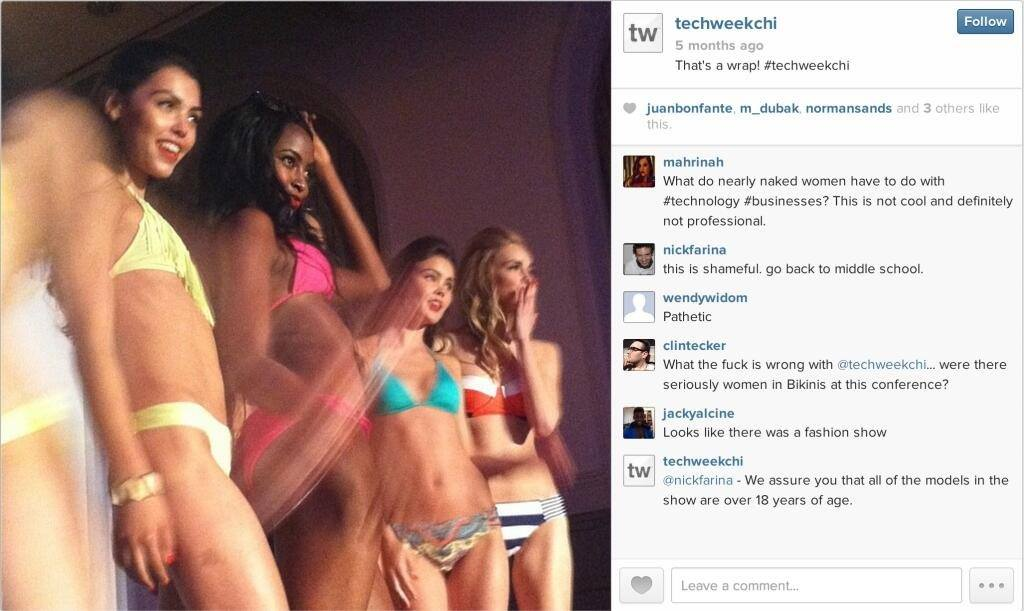 This photo had been deleted from Instagram and the Techweek website since the publication of the article below.