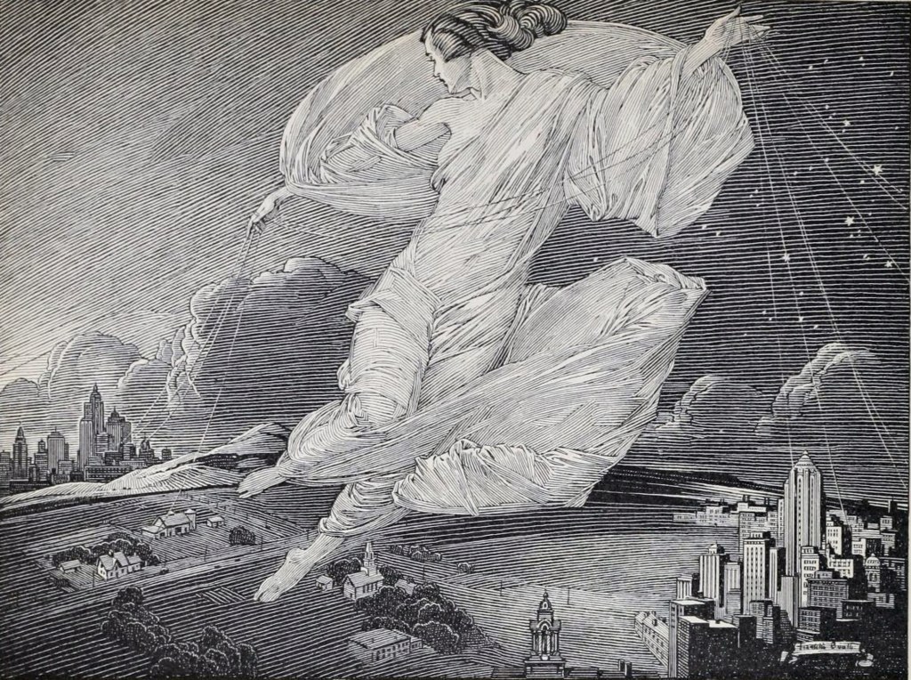 by Franklin Booth, uploaded by Simtropolitan (Bell Telephone Quarterly, Vol. XIX, No. 1) [Public domain],  via Wikimedia Commons