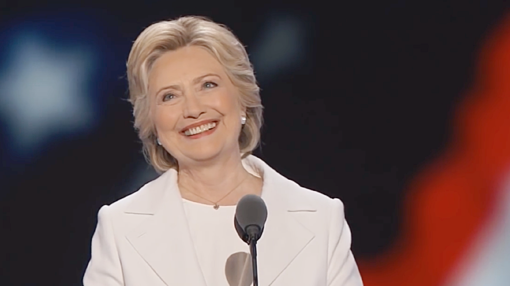 """screenshot from PBS NewsHour's 28 July 2016 """"Watch Hillary Clinton's Full Speech at the 2016 Democratic National Convention"""", via YouTube"""