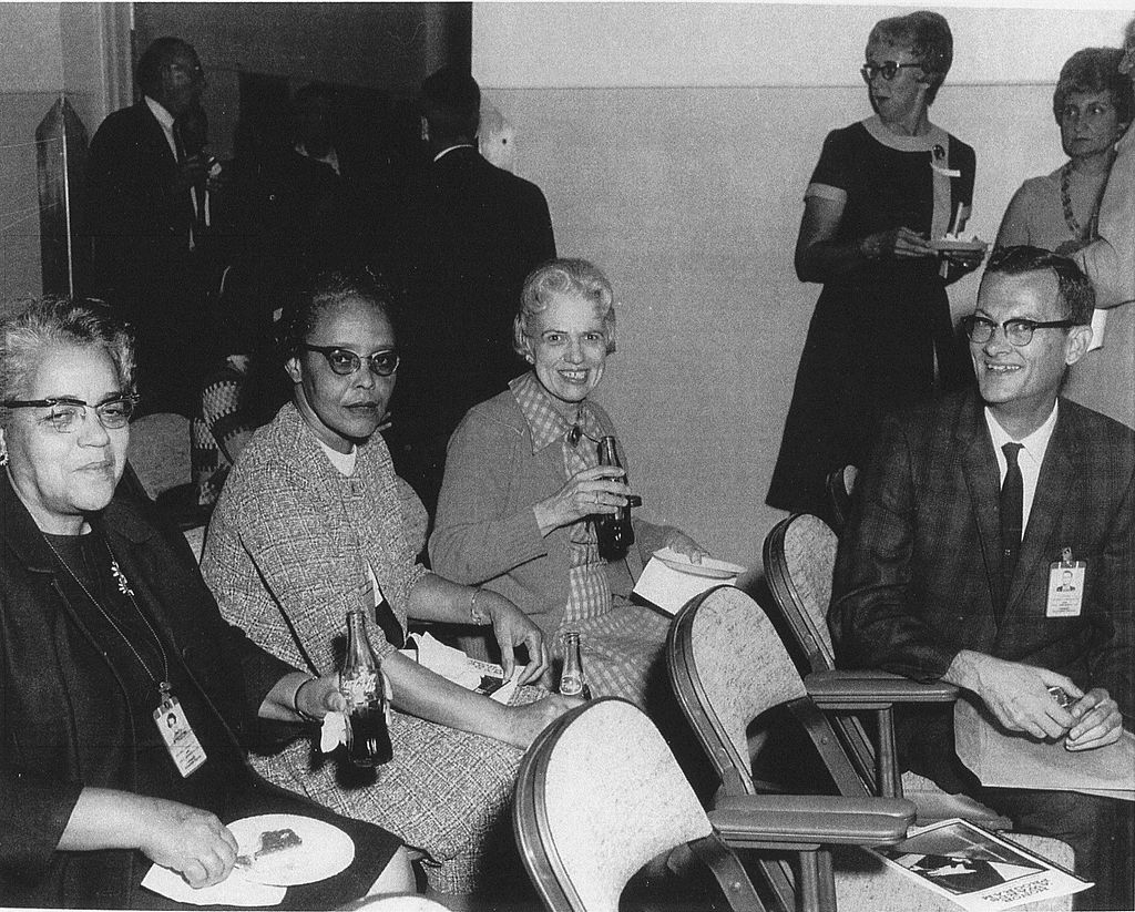 by Beverly Golemba [public domain],  via Wikimedia Commons . The three women, left to right: Dorothy Vaughan, Leslie Hunter, and Vivian Adair