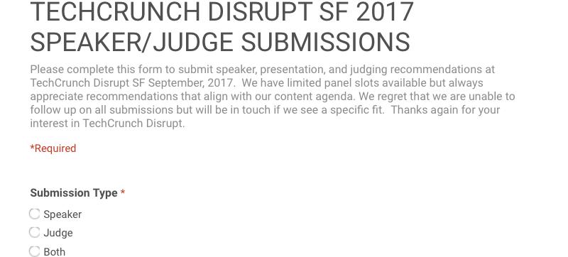 TechCrunch Disrupt SF 2017 speaker form