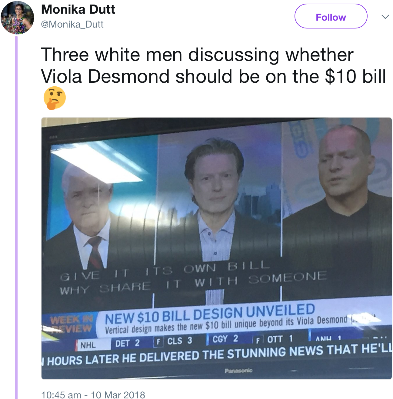 Left to right: a white guy with white hair, another white guy who really likes the new vertical design of the bill, a balding white guy. Missing: a woman who can discuss the importance of Viola Desmond to Canadian history and what it means to have her likeness on the $10 bill.