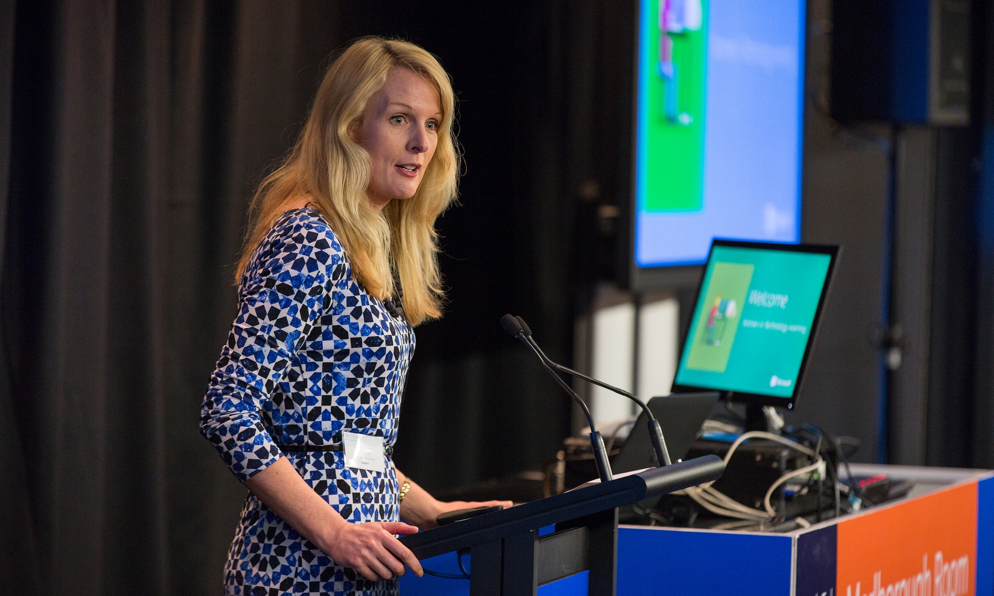 "Frances Valintine at Microsoft's ""Women In Business"" event in 2014. Photo credit: Ignite New Zealand [ CC BY-SA 2.0 ],  via Flickr ."