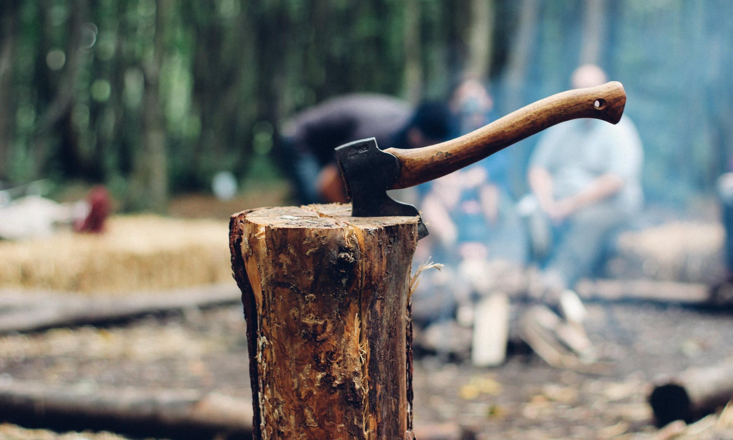 An axe stuck in a log