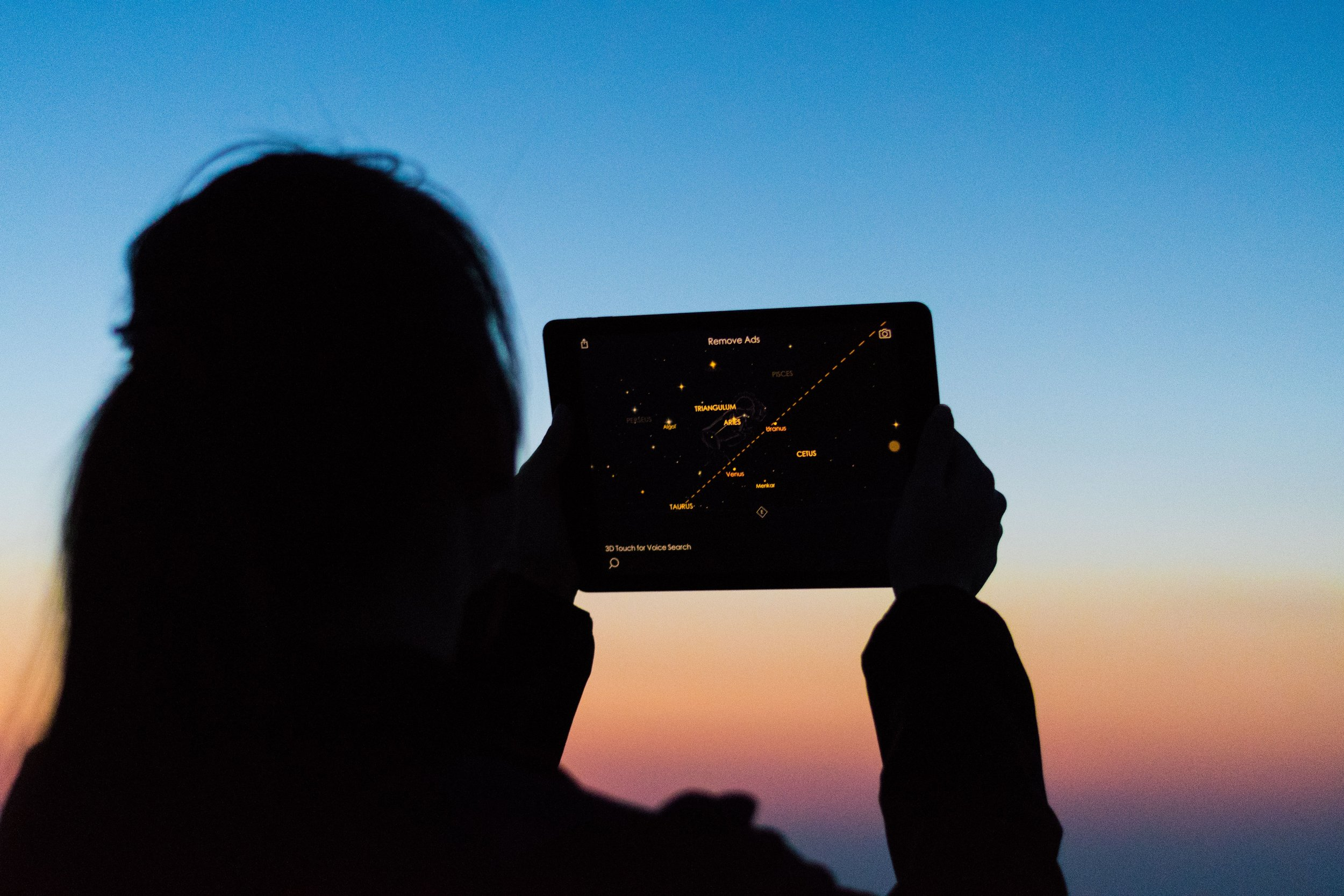 girl looking at night sky and referencing an astronomy app on a tablete