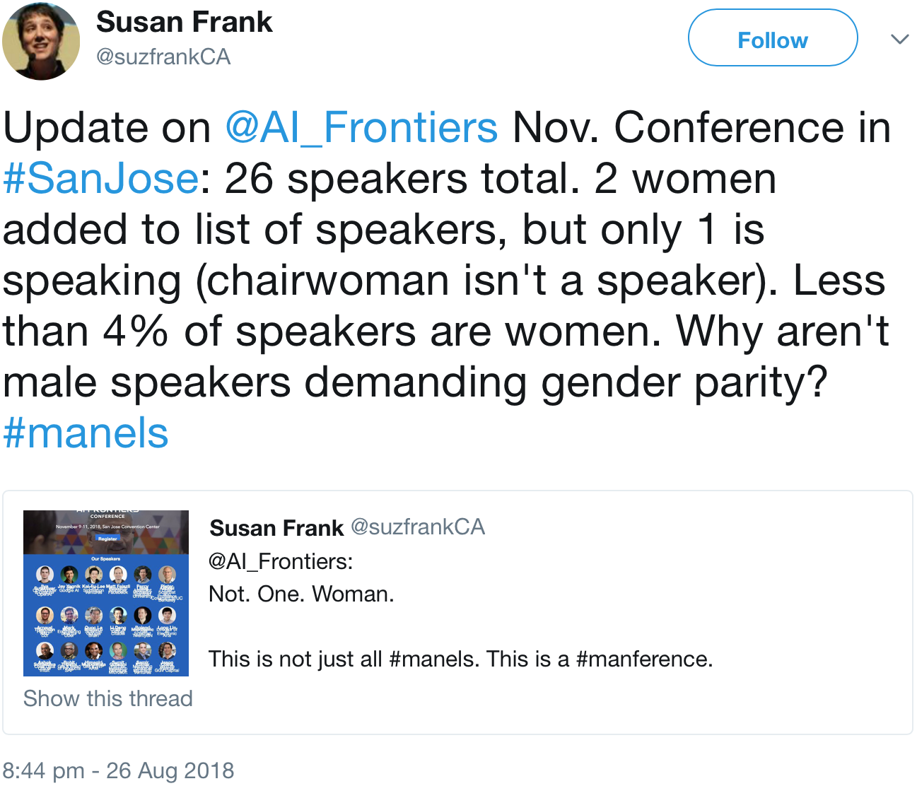 image of a tweet from Susan Frank (@suzfrankCA)