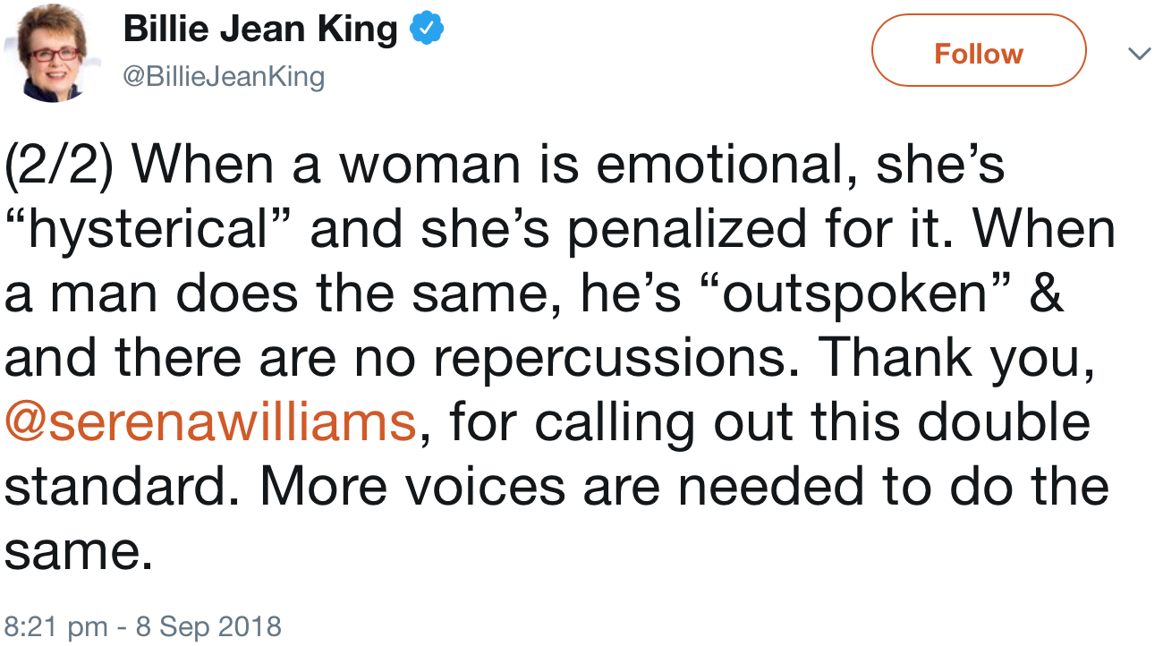 screenshot of a tweet by @BillieJeanKing