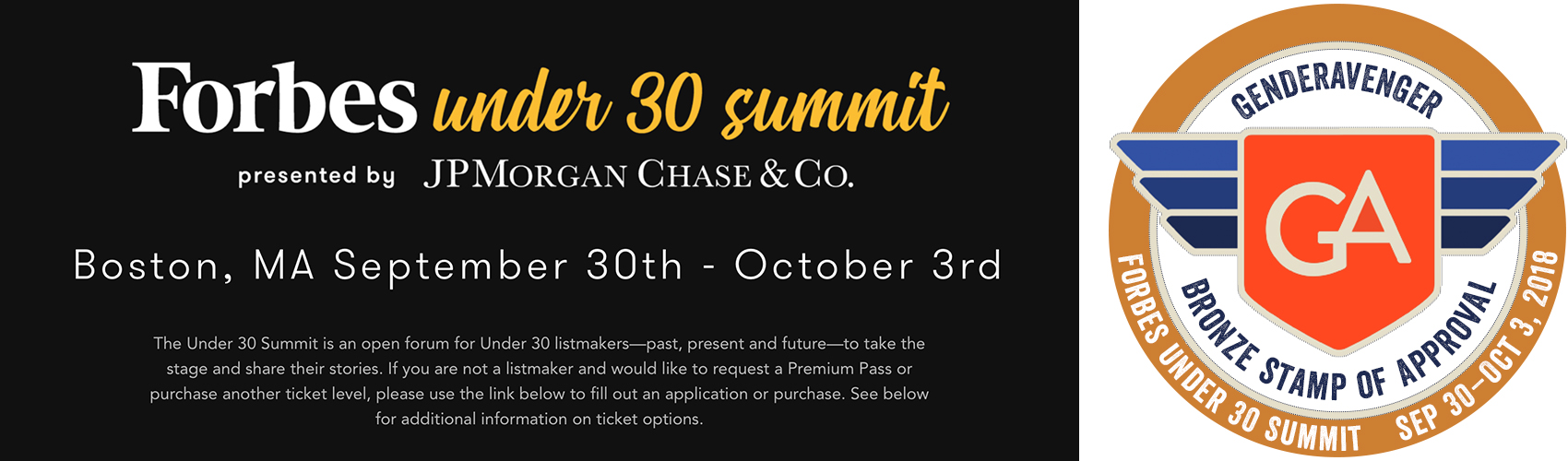 Forbes Under 30 Summit GA Bronze Stamp of Approval
