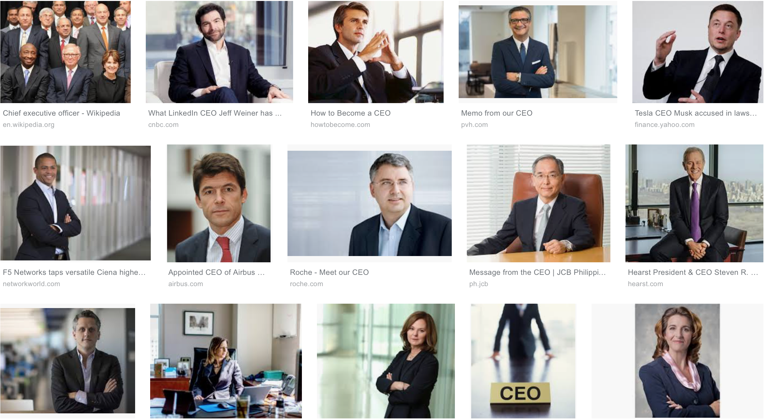 """the top results of a Google image search for """"CEO"""""""