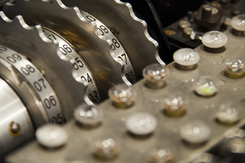 An Enigma machine developed in the early- to mid-20th century to protect sensitive communication. Photo credit: Michael Himbeault [ CC BY 2.0 ],  via Flickr .