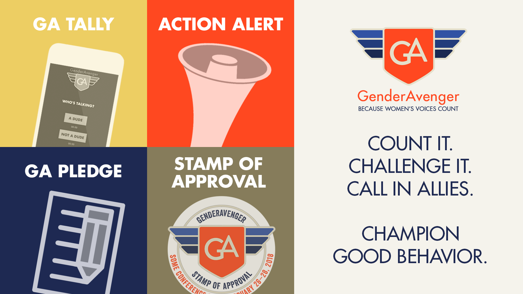 GenderAvenger's Tools: the GA Tally, Action Alerts. the GA Pledge, and the Stamp of Approval