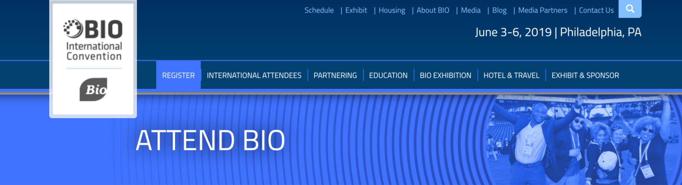 screenshot of the BIO 2019 website