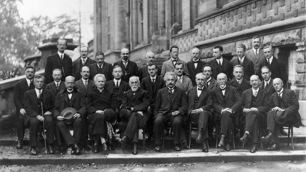 1927  Solvay Conference  on Quantum Mechanics. Photo credit: Benjamin Couprie [public domain],  via Wikimedia Commons