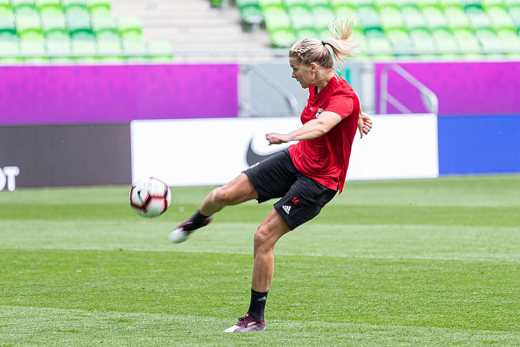 Ada Hegerberg, a Norwegian professional footballer who plays as a striker for the Division 1 Féminine club Olympique Lyonnais. Photo credit: Steffen Prößdorf [ CC BY-SA 4.0 ],  via Wikimedia Commons