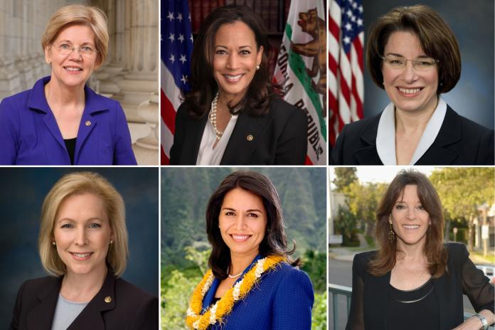 From top left to bottom right: Elizabeth Warren, Kamala Harris, Amy Klobuchar, Kirsten Gillibrand, Tulsi Gabbard, and Marianne Williamson