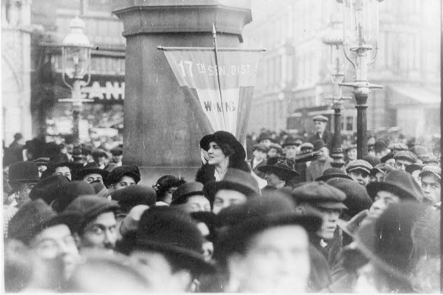 Mrs. Norman Whitehouse making a speech for suffrage in December 1913.