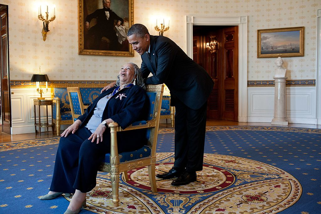 President Barack Obama talks with Presidential Medal of Freedom recipient Toni Morrison in the Blue Room of the White House, May 29, 2012. (Official White House Photo by Pete Souza)