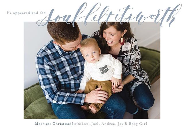 Merriest Christmas, to your family from ours. Sometimes the words just don't come, and it's hard to know what to say to sum up a year. 2018 has been one of joy, loss, anticipation, growth, learning, and lots of other lessons/emotions too, those are just the ones that immediately come to mind. It's easy to remember the hard and have fear for what's to come, but during this Advent season, I'm reminded that our worth is not found in our circumstances, but in the gift of love and promise that God is with us through it all. Praying your Christmas season and 2019 are full of love! 📷: @breelinne . . . . . #calligraphy #moderncalligraphy #pointedpen #christmascards2018 #ohholynight #merrychristmas #christmas #lemonseedpress