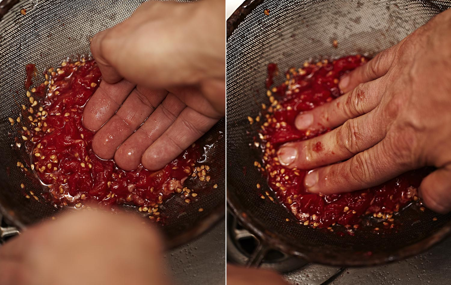 Get stuck right in and push the pulp through the sieve. It's fun. Kids will love it, they love the muckiness of it.