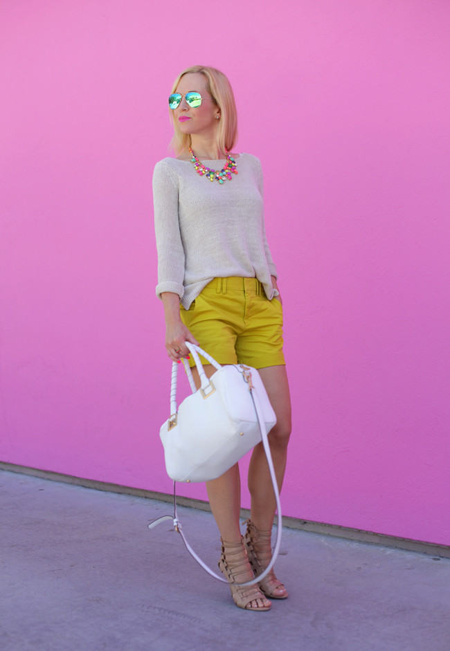 Candy colored necklace and yellow shorts.  Love, love, love.