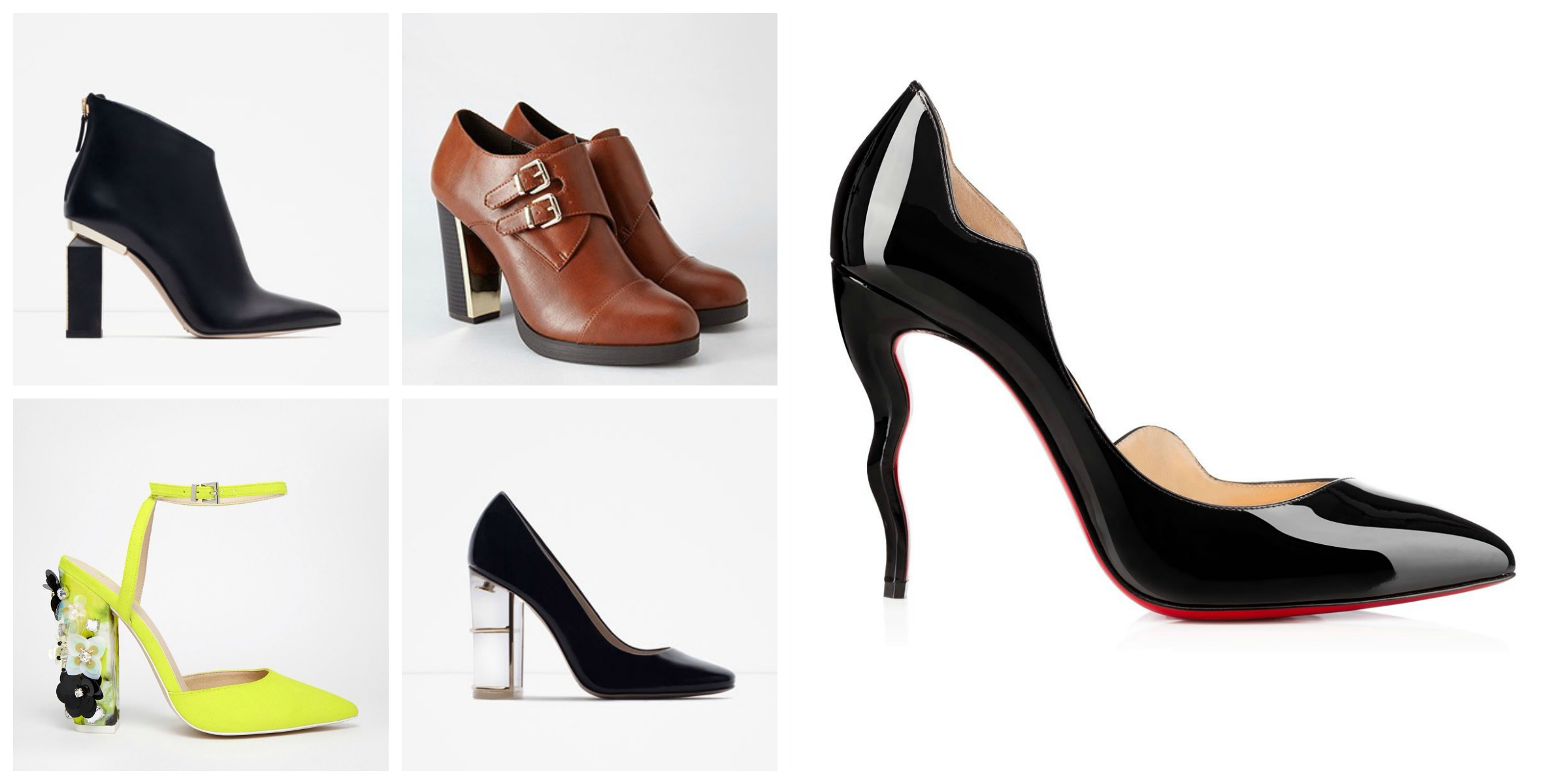 Top two :  Zara Metal Heeled Boots  and  Forever 21 Buckled Metallic-Heel Bootie  (a steal!)   Bottom two :  ASOS Performer Pointed High Heels  and  Zara Court Shoes     And just for fun :  Christian Louboutin Dalida Pumps