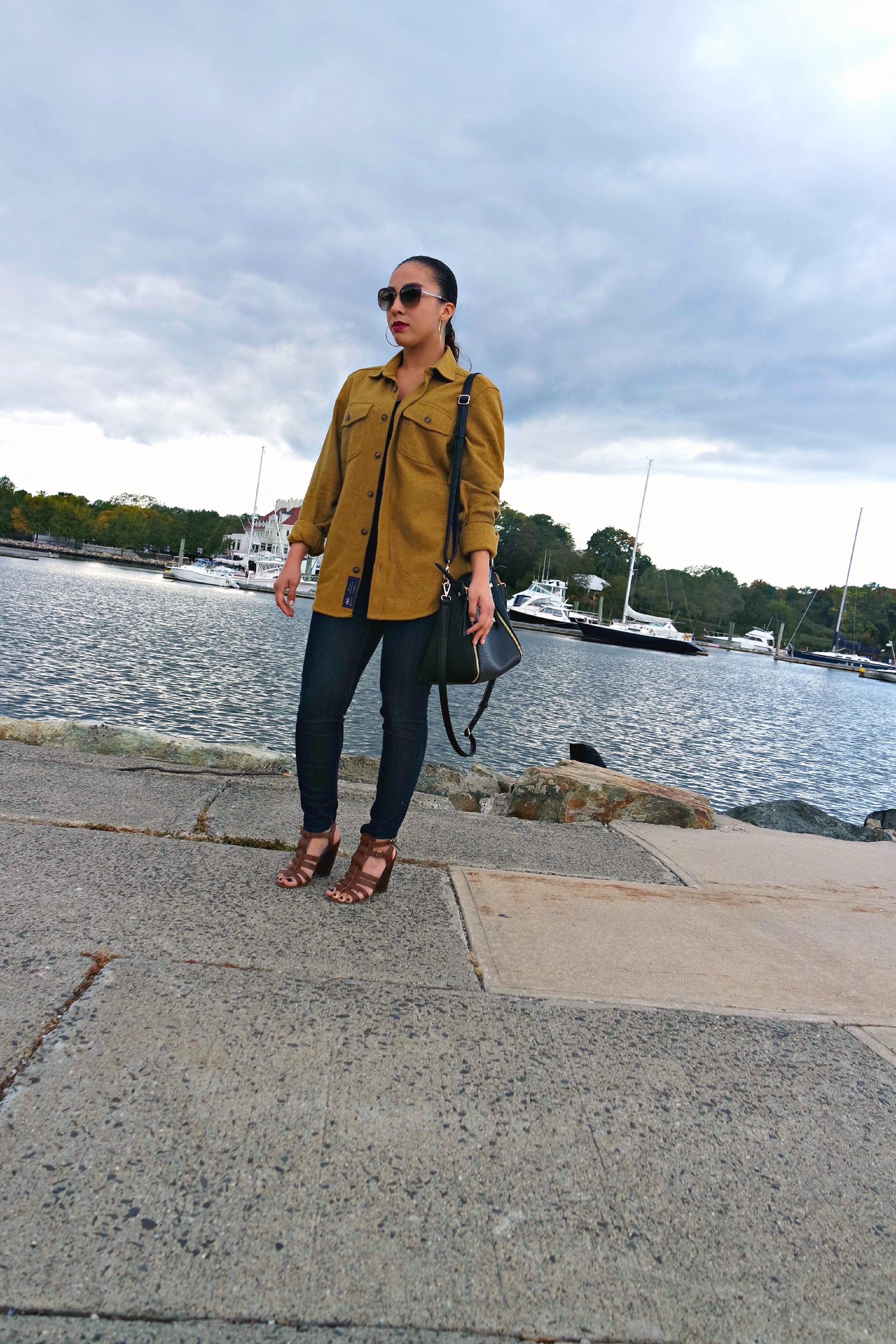 H&M Jacket  (size small in mens)    Loft Jeans   Nines West Wedges (super old)    Daily Look Black Bag    Dolce and Gabbana Sunglasses c/o  Ditto.com