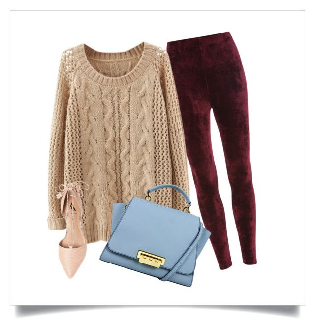Cable Open Knit Sweater  |  Velvet Leggings  |  Lace-Up Flats  |  Eartha Hand Bag