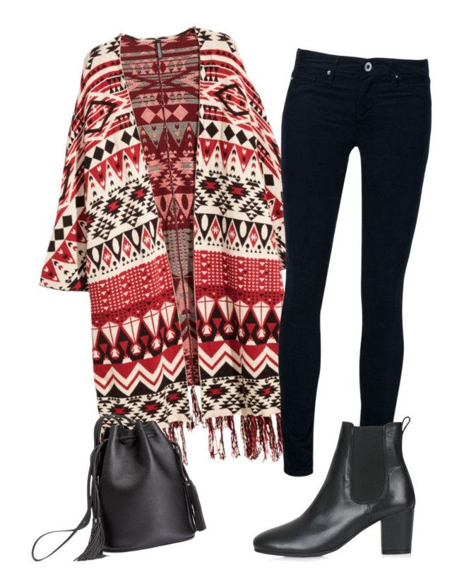 Jacquard Knit Poncho  |  AG Corduroy Skinny Jeans  |  Bucket Bag  |  Chelsea Boots