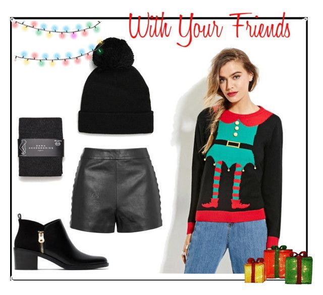 Sweater  |  Faux Leather Shorts  |  Tights  |  Ankle Boots |  Beanie