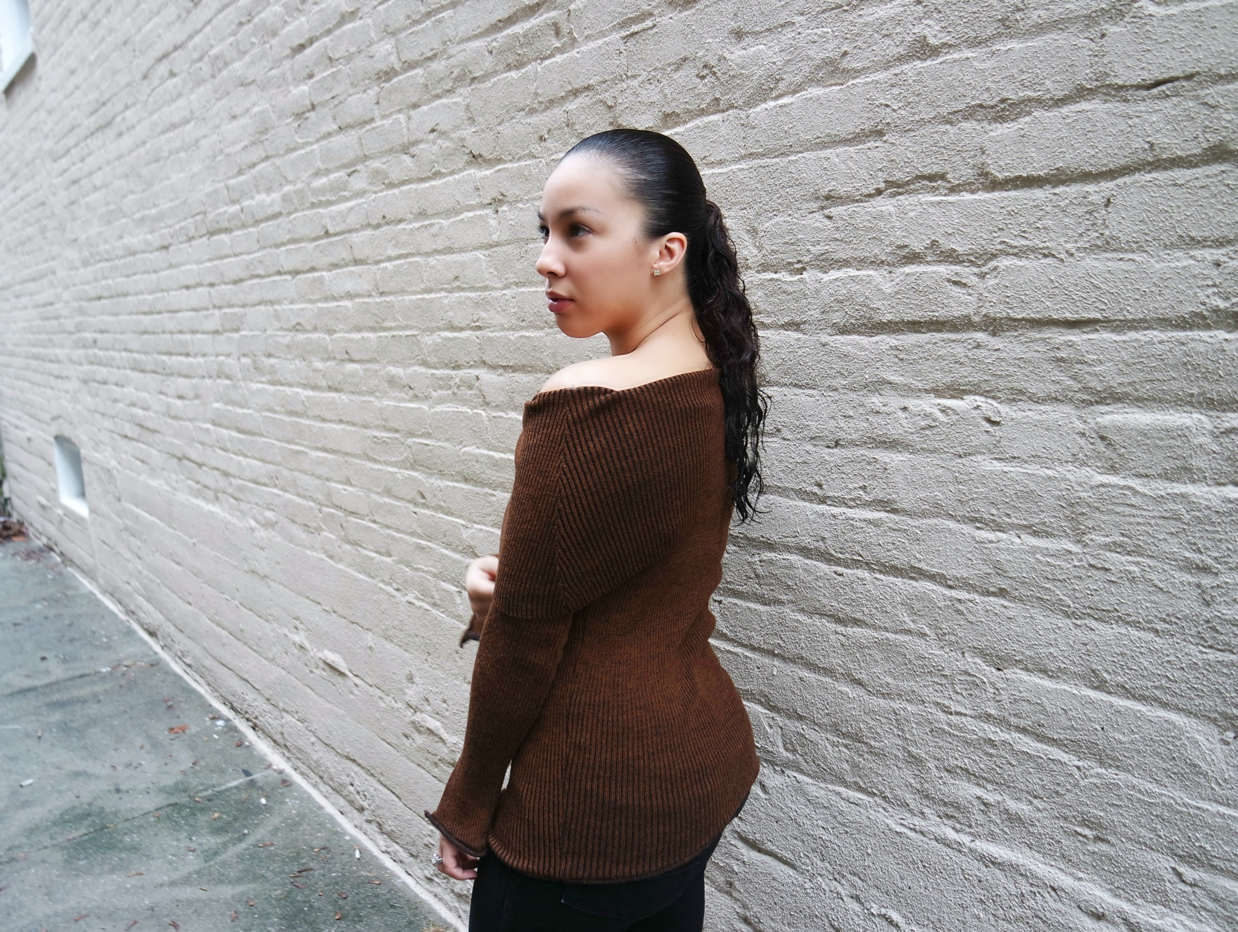 Boat Neck Sweater  (on sale!)| Black Jeans (old;  similar ) |  Lace-up Flats  | Gold Stud Earrings
