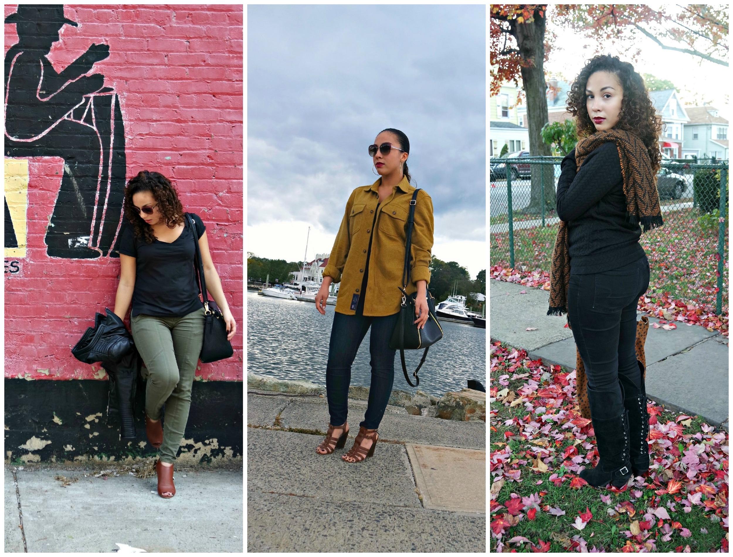 Olive Green + Black             Boyfriend Jacket               Orange + Black Blanket Scarf