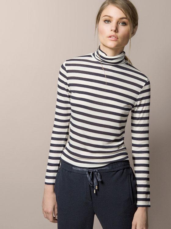 Polo Neck Striped T-shirt