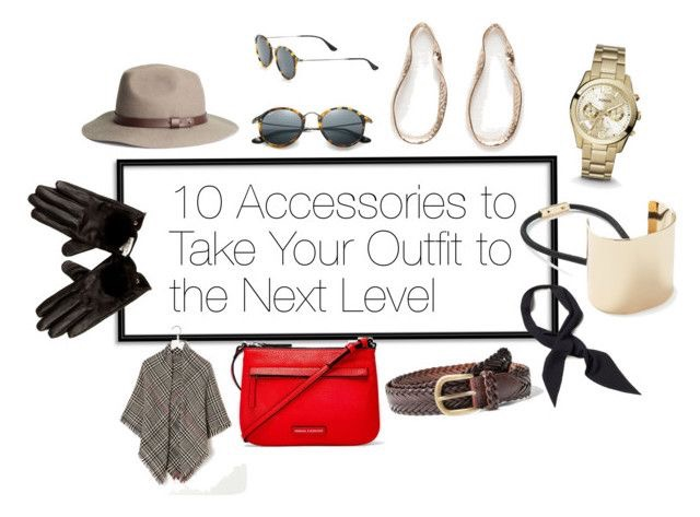 Beige Fedora  |  Sunglasses  |  Hoops  |  Watch  |  Gold-plated Hair-tie  |  Necktie  |  Woven Belt  |  Red Bag  |  Scarf  |  Gloves