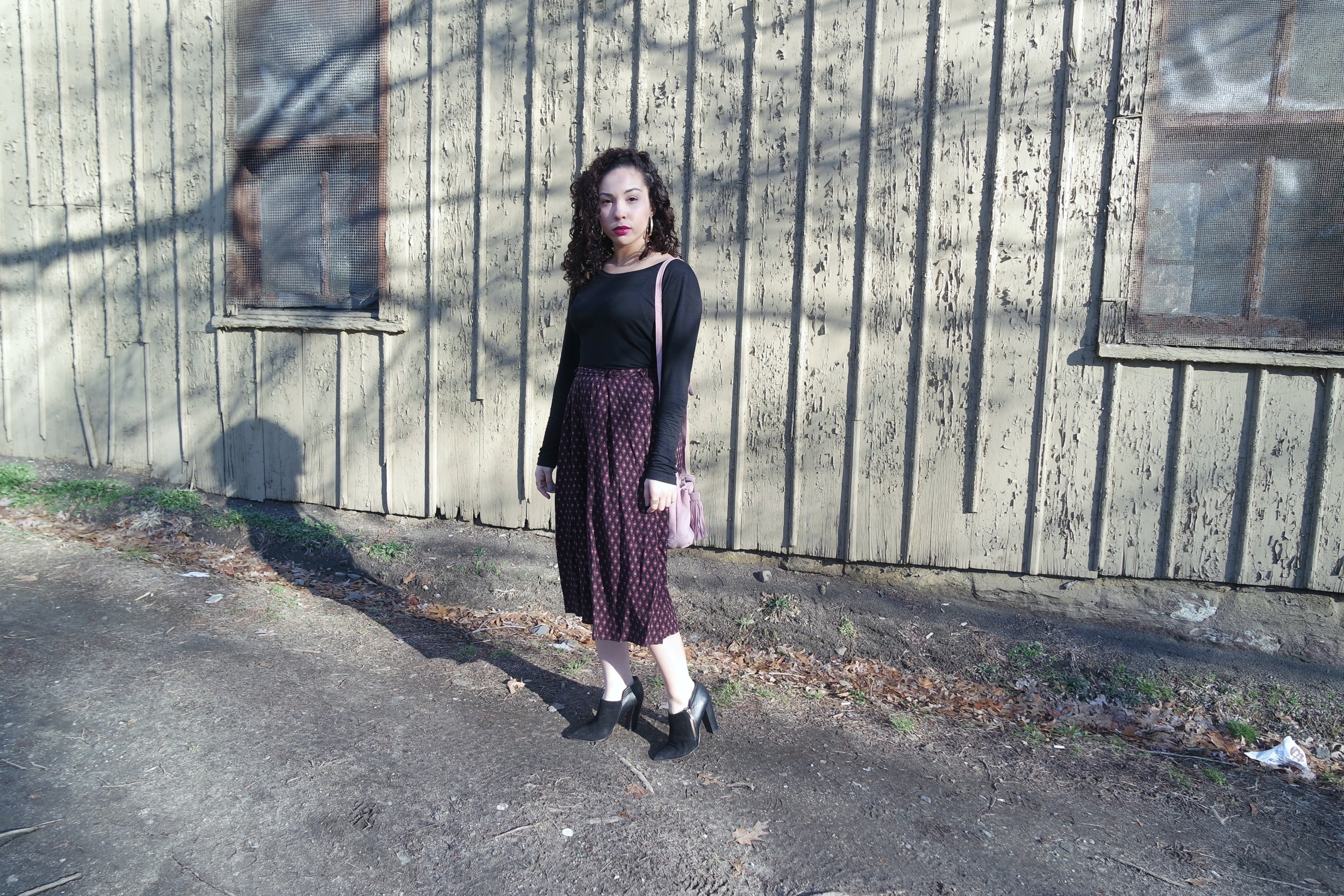 Black Shirt via TJmaxx | Abercrombie and Fitch Culottes via Marshalls (similar  here  and  here )| Shoemint Ankle Booties (old; found them  here !) |  Zara Suede Bag