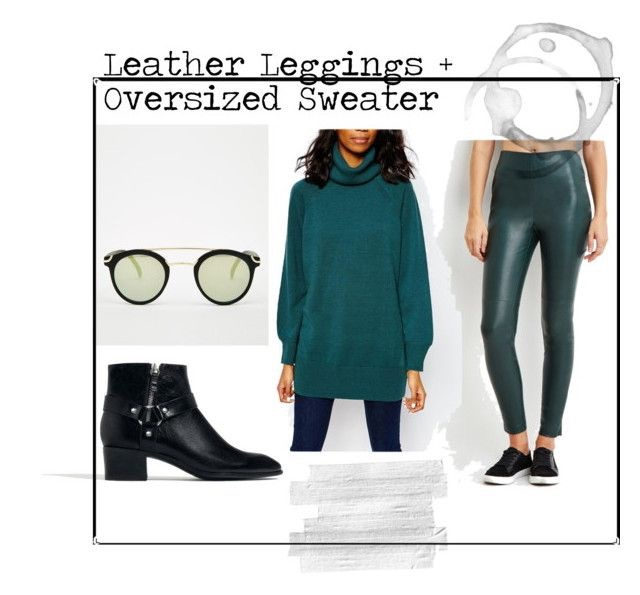 Leather Leggings  |  Oversized Tunic  |  Leather Ankle Booties  |  Asos Round Sunglasses