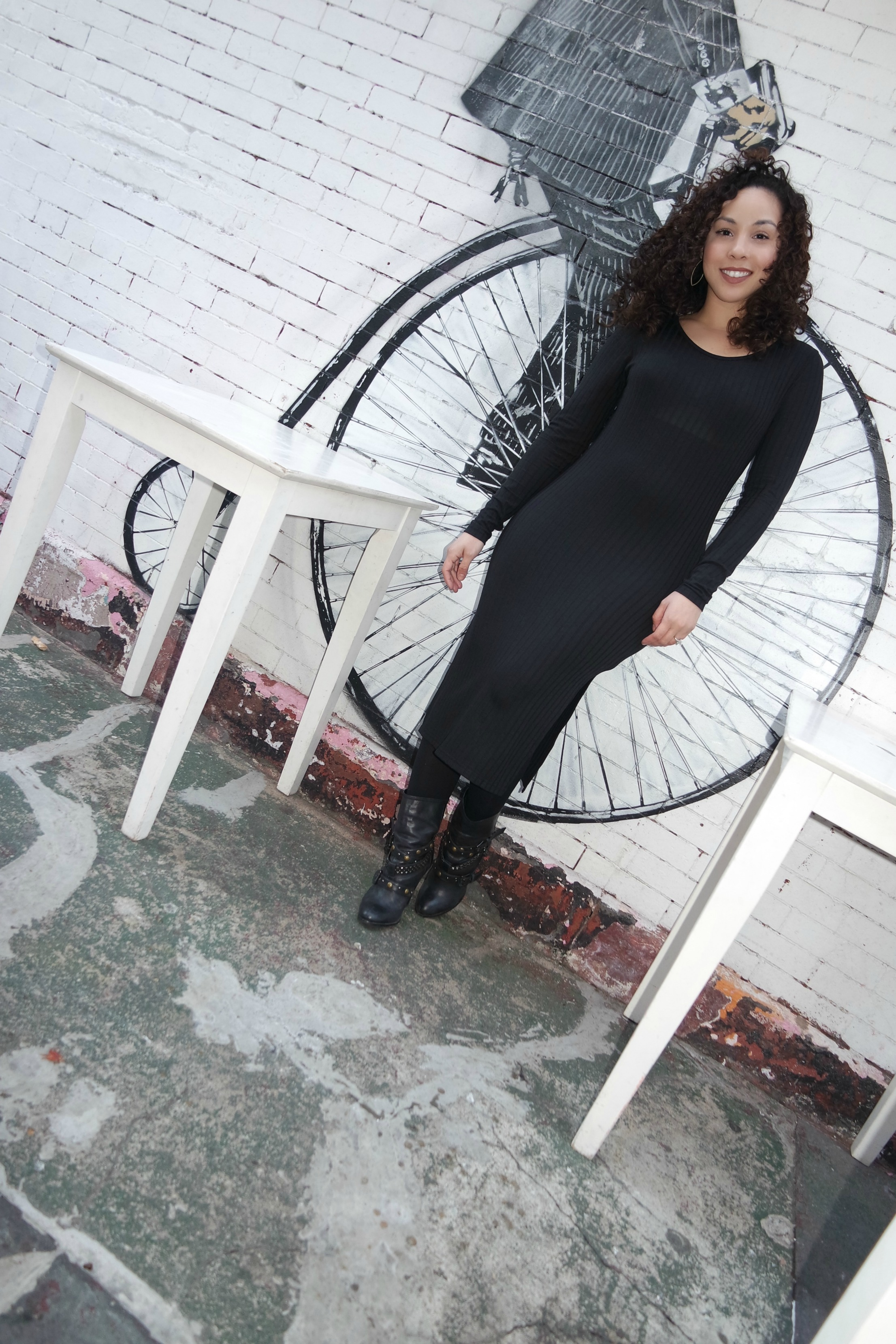 Black Ribbed Dress (similar  here ) | Aldo Studded Boots (super old; similar  here ) |  H&M Tights  |  UD Lipstick in  1993