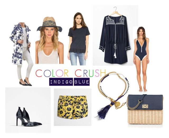 Hobbs London Printed Trench Coat  |  Marrakesh Fedora  |  Clu Too Ruffle Hem T-shirt  |  GAP Embroidered Dress  |  Block Party Zip Front Swimsuit  |  Wicker and Leather Shoulder Bag  |  Me to We Double Strand Bracelet  |  J.Crew Printed Boardwalk Shorts  |  Zara Contrast Print High Heels