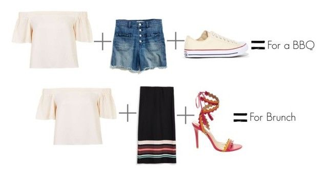 For a BBQ :  Topshop Bardot Off-The-Shoulder Top     Madewell High-Rise Denim Shorts     Converse Chuck Taylor All Star Classic Sneakers in Natural White   For Brunch :  Topshop Bardot Off-The-Shoulder Top     Zara Bodycon Striped Skirt     Steve Madden Purcee Heels in Coral Multi